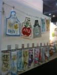 Great way to display tea towels and aprons