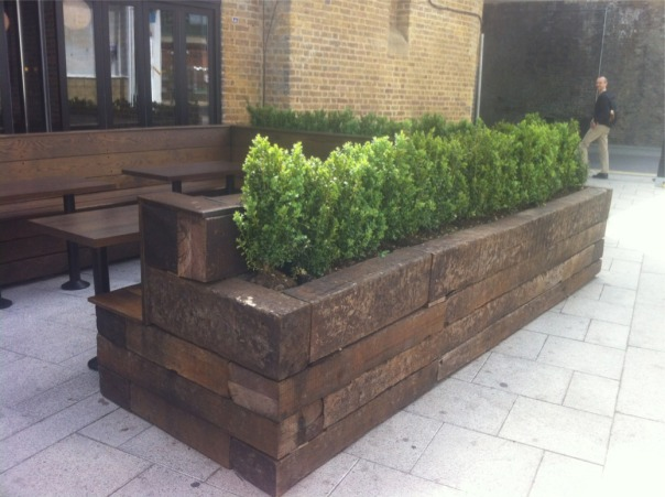 Exterior seating and planting idea