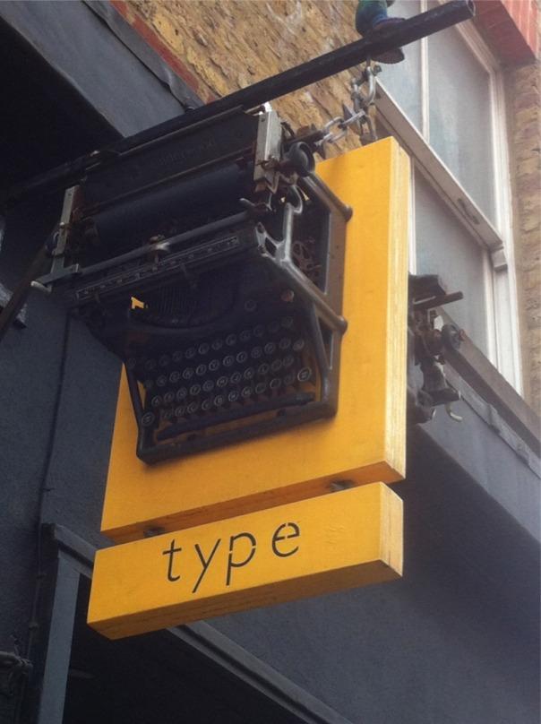 Type shop signage